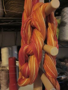 Twisting the warp yarns off the board